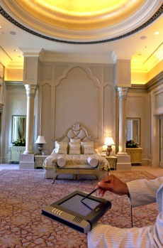 Silver, gold and marble were used in the construction of the 394-room hotel and the 1002 chandeliers dotted throughout ...