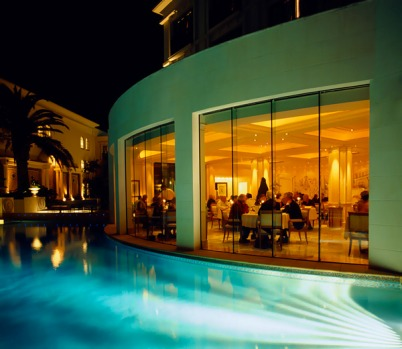 Swanky ... restaurant across the pool at Palazzo Versace.