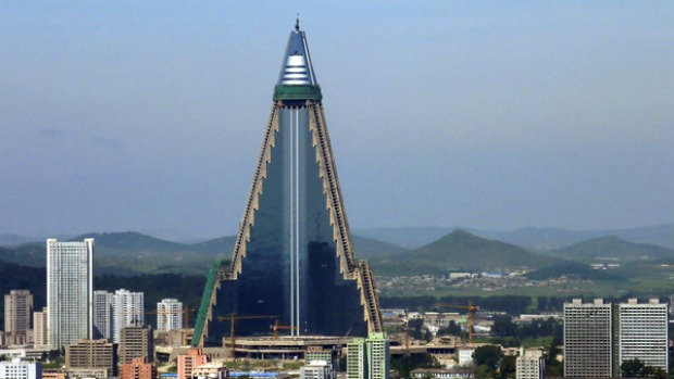 Work has restarted on the Ryugyong Hotel, once dubbed 'the worst building in the history of mankind'.