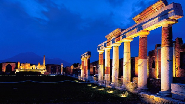 Spotlight on history ... the ruins of Pompeii lit for after-dark tours.