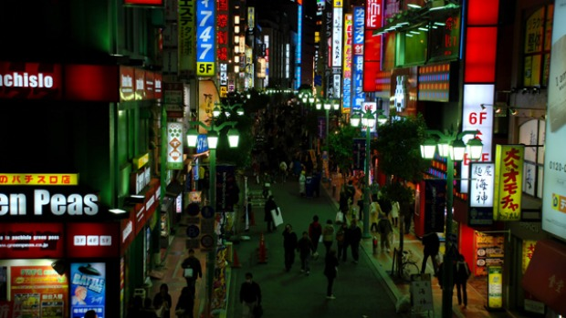 Cheap fun ... a bustling street in Shinjuku.
