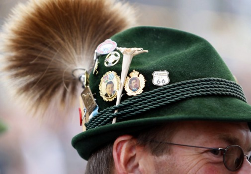 A man in traditional Bavarian clothes is seen during the opening of the famous Oktoberfest beer festival in Munich.