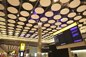 The baggage claim hall in the new Terminal 5 building is seen at London's Heathrow Airport