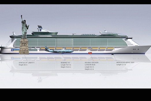 A size comparison between the Oasis of the Seas, the Statue of Liberty, a Boeing 747, a double-decker bus and a car.