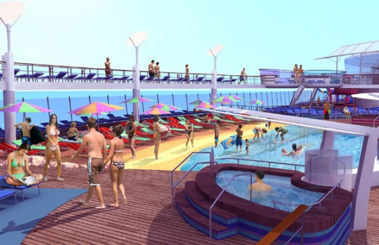 Artist's impression of the ships 'beach pool' area.