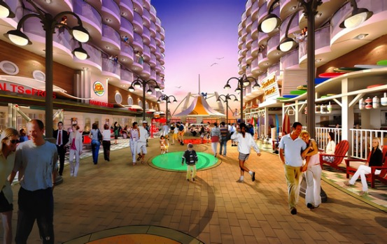 An artist's impression of the ships boardwalk area.