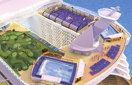Artist's impression of the ship's sports deck.
