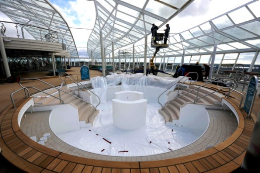 The solarium deck of Royal Caribbean's Oasis of the Seas.