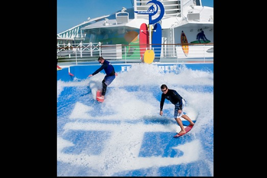 One of the ship's two wave-flow riders for surfing.