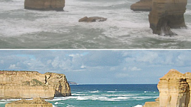 Dear sister ... one of the rock formations known as the 'Three Sisters' collapsed into the sea (top). Bottom: the rock ...