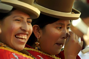 Hats on ... women at this year's Gran Poder parade, La Paz's biggest festival.