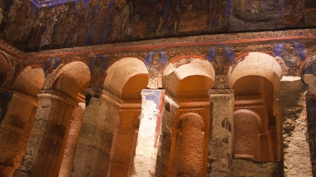 The extraordinary facilities of the underground cities of Cappadocia include churches such as these, as well as ...