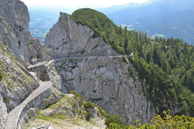 View of the trail up to the entance of the ice caves, Eisriesenwelt, in Austria.