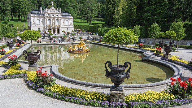 Above the ground at Linderhof Palace and garden in Oberammergau, Germany. Linderhof Palace is the smallest of the three ...