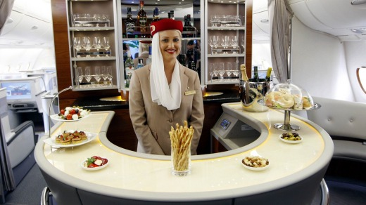 The business and first-class bar on Emirates A380 flights.