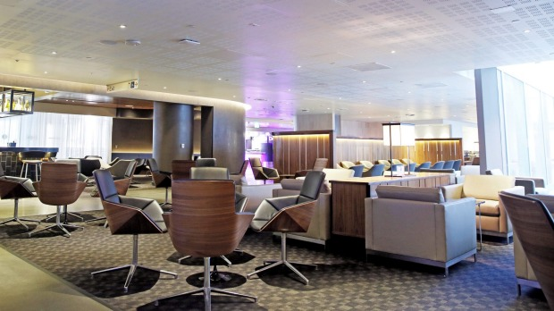 The Qantas business lounge at LAX.