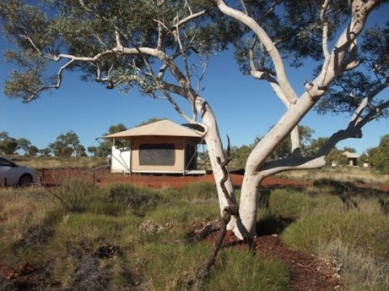 8    KARIJINI ECO RETREAT, KARIJINI NATIONAL PARK, PILBARA, WA. These smart tents are set on elevated timber platforms ...