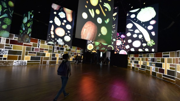 People visit the pavilion Zero of the United Nations (UN) at the Universal Exposition Milano 2015, EXPO2015 in Milan.