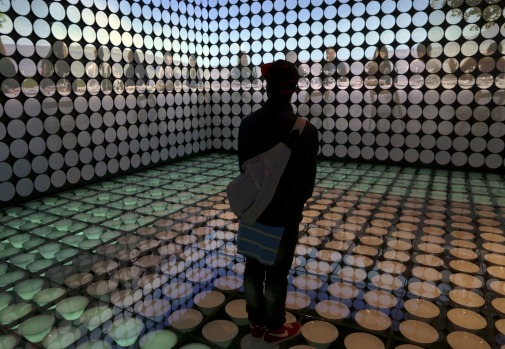 A person visits the Spain pavilion at Expo 2015 in Milan, May 6, 2015. Italy opened the Milan Expo on May 1, torn ...