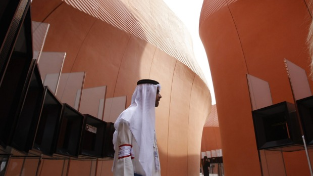 The United Arab Emirates pavilion at the Expo 2015 in Rho, near Milan, Italy.