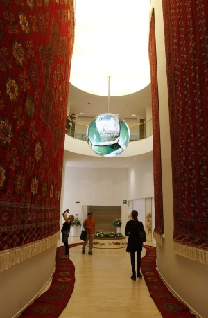 The Turkmenistan pavilion at the Expo 2015 in Rho, near Milan, Italy.