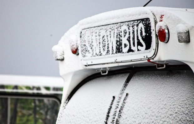 The 'Snow Bus' at Hotham. A further 3cm is expected to fall this weekend.