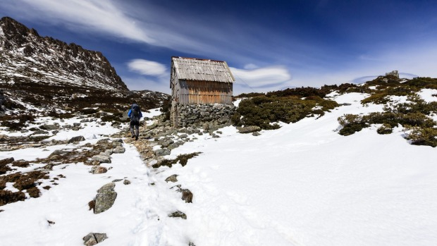 Through the snow to kitchen hut, on the flank of Cradle Mountain.