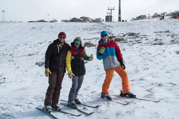 Skiing on the slopes of Perisher, which has seen 5cm of snow overnight, with temps dropping to -3 degrees.