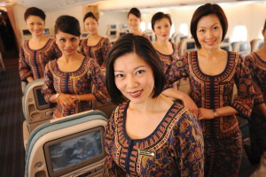 Singapore Airlines flight attendants on board an A380.