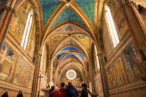 The interior of the Basilica of St Francis in Assisi.