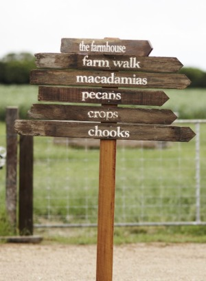 A signpost on The at Farm Byron Bay.