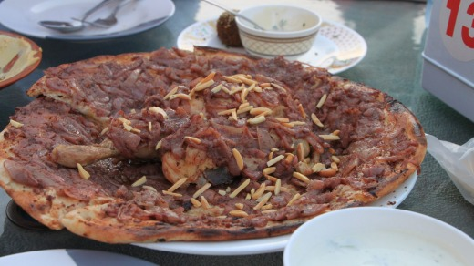 Musakhan, a Palestinian dish, is served at Qwaider al Nabulsi.