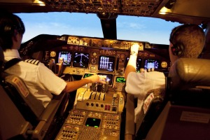 At the wheel: Pilots in a British Airways 747 simulator.