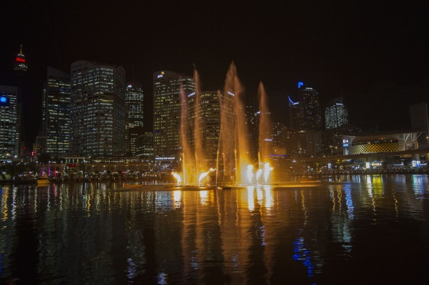 The Darling Harbour Laser Water Fountain display
