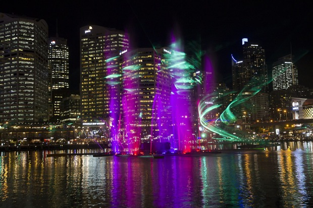 The Darling Harbour Laser Water Fountain display.