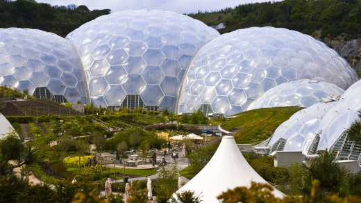 Three biomes at the Eden Project, the largest greenhouses in the world.
