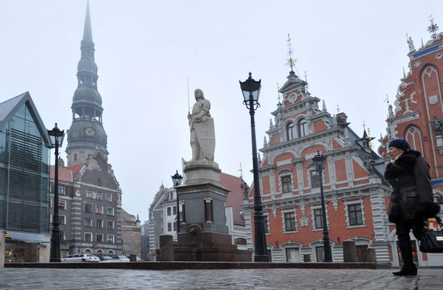 Number 5: Latvia. Pictured, Saint Roland's Statue and the House of the Blackheads in Riga.