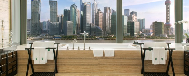 The Banyan Suite bathroom, Banyan Tree Shanghai on the Bund.