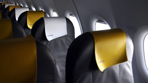 Passenger seats  on an Airbus A320.