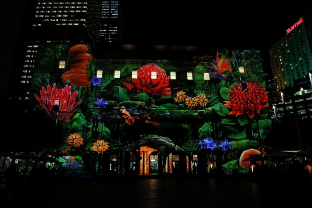 Customs House lights up with Waratahs for the 'Enchanted Sydney' light show.