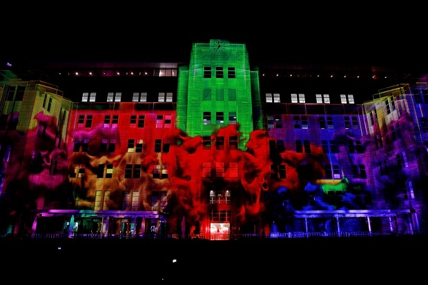The Museum of Contemporary Art is lit with the 'Merchanised Colour Assemblage' show.