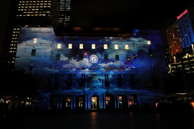 Customs House is lit up with the 'Enchanted Sydney' show.