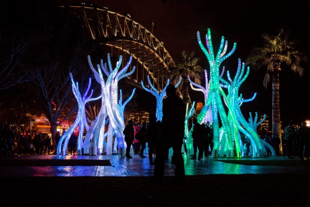 Light trees or dancers at the Quay.