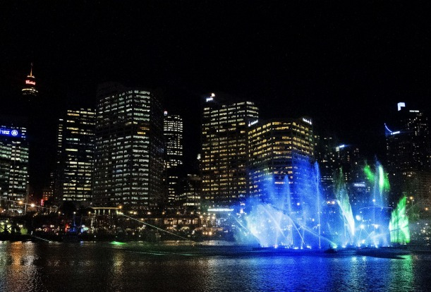 The Laser-Fountain Water Theatre at Darling Harbour.