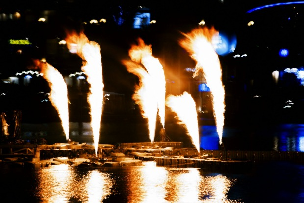 Flames and lasers at Darling Harbour.