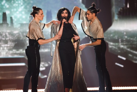 Conchita Wurst performs on stage during rehearsals for the final of the Eurovision Song Contest 2015 on May 22, 2015 in ...