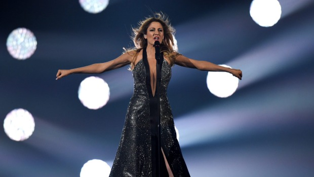 Maria Elena Kyriakou performs Greece's entry, One Last Breath, on stage during rehearsals for the final of the ...