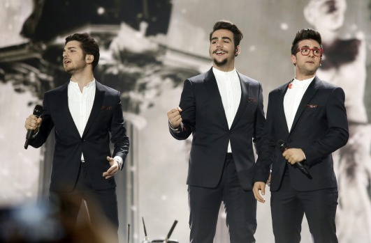 The band Il Volo from Italy with Piero Barone, Ignazio Boschetto and Gianluca Ginoble perform during the dress rehearsal ...