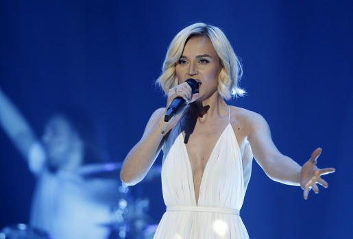 Polina Gagarina from Russia performs during the dress rehearsal for the Eurovision Song Contest final on May 22, 2015 in ...