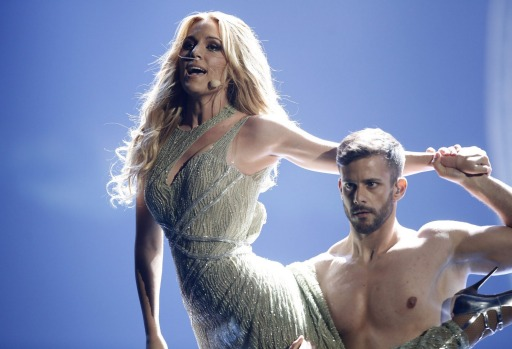Edurne (Garc?a Almagro) from Spain performs during the dress rehearsal for the Eurovision Song Contest final on May 22, ...